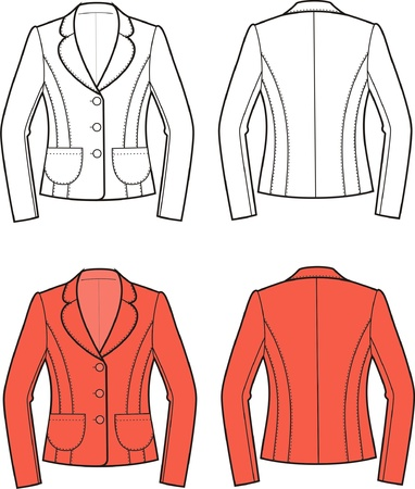 Vector illustration of women s business jacket  Front and back views Stock Vector - 20096376