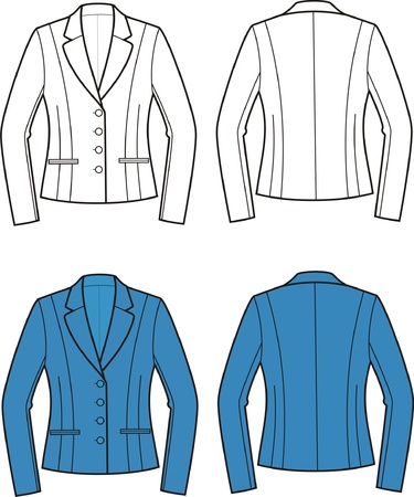 Vector illustration of women s business jacket  Front and back views Stock Vector - 20095551