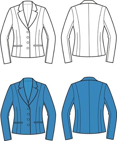 pocket size: Vector illustration of women s business jacket  Front and back views Illustration