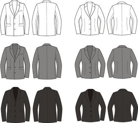 men s: Vector illustration of men s and women s business jackets  Different colors  Front and back views