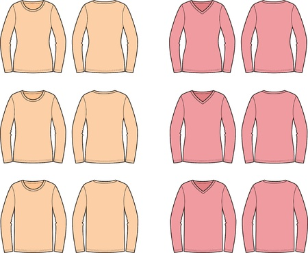 Vector illustration of jumpers  Front and back views  Different silhouettes and necklines Vector