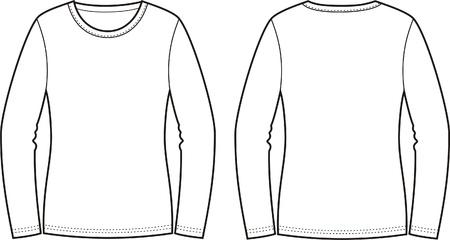 neck wear: Vector illustration of jumper  Front and back views