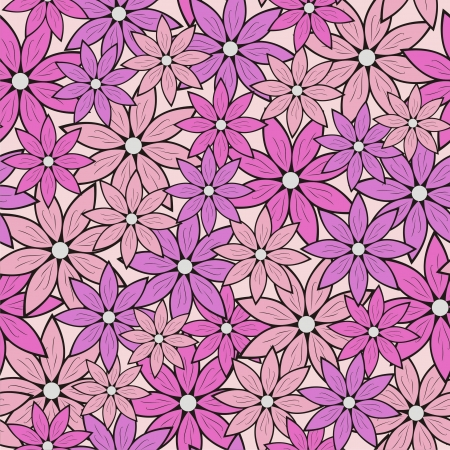 multilayer: Vector illustration of seamless pattern with flowers Illustration