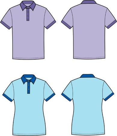 Vector illustratie van de mannen s en vrouwen s polo t-shirts Voor-en achterzijde uitzicht
