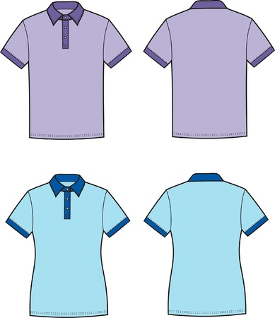 Vector illustration of men s and women s polo t-shirts  Front and back views Stock Vector - 20095937