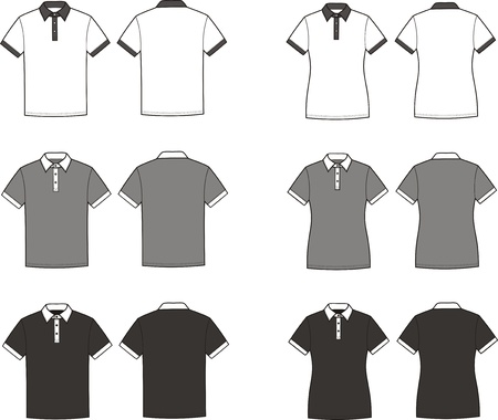 men s: Vector illustration of men s and women s polo t-shirts  Front and back views  Different colors