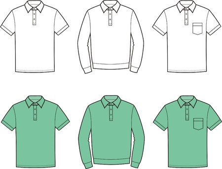 Vector illustration of men s polo t-shirts