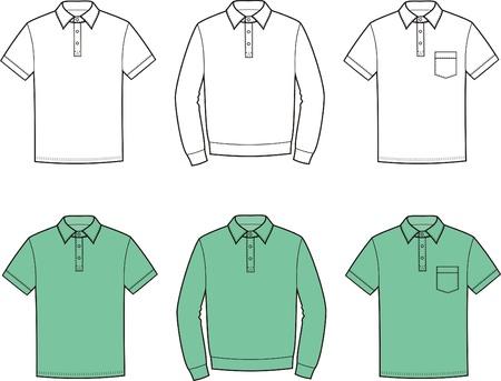 t shirt model: Vector illustration of men s polo t-shirts