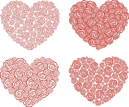 Vector illustration  Set of hearts with roses Vector