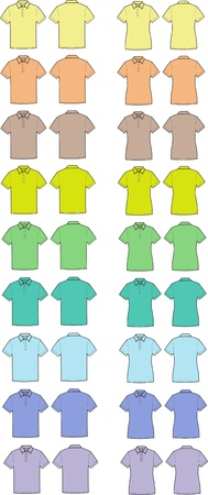 Vector illustration  Set of men s and women s polo t-shirts  Different colors  Front and back views Stock Vector - 20095890