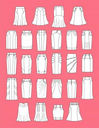 jeans skirt: Vector illustration of skirts