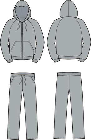 cuffs: Vector illustration of smock and pants  Front and back views
