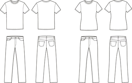 women s clothes: Vector illustration of men s and women s casual clothes  t-shirt and jeans  Front and back views Illustration