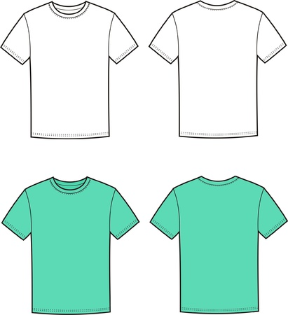 Vector illustration of men s t-shirt  Front and back views Vector