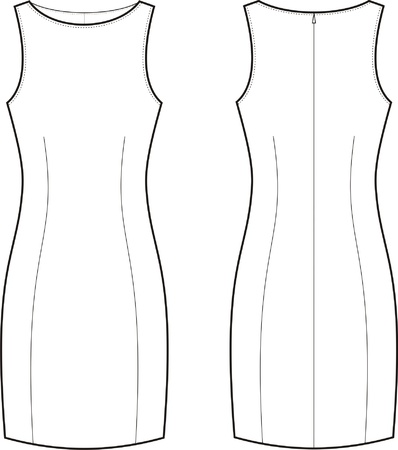 Vector illustration of women s classic dress  Front and back views Vector