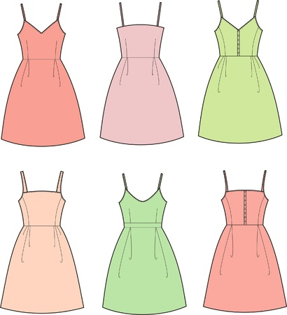 Vector illustration of women s summer romantic dresses Vector