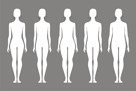 naked body: Vector illustration of women s figures  Different types  Silhouettes