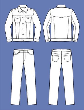남자의 청바지 옷 재킷과 바지 전면 및 후면보기의 벡터 일러스트 레이 션 일러스트