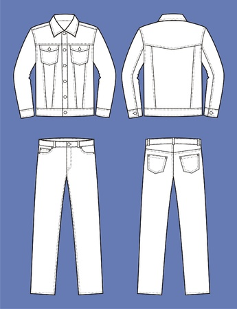 Vector illustration of men s jeans clothes  jacket and pants  Front and back views