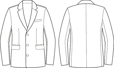 Vector illustration of men s business jacket  Front and back views Stock Vector - 20146232
