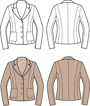 Vector illustration of women s business jacket  Front and back views Stock Vector - 20146228
