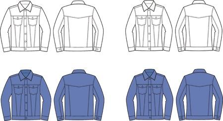 재킷: 남성의 여성의 청바지 재킷 전면 및 후면보기의 벡터 일러스트 레이 션 일러스트