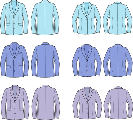 Vector illustration of men s and women s business jackets  Different colors  Front and back views Stock Vector - 20146452