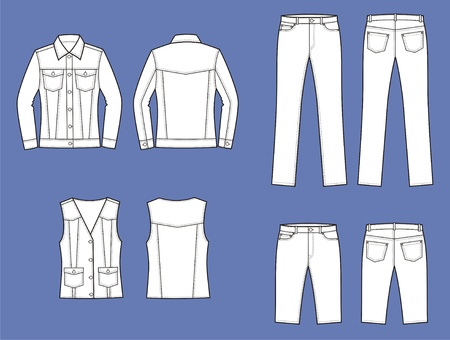 women s clothes: Vector illustration of women s jeans clothes  jacket, shorts, vest, pants  Front and back views