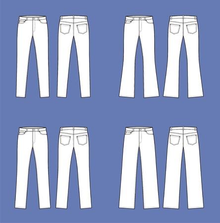 ベクトル イラスト女性のジーンズ前面のセットとビュー異なるシルエットをバック  イラスト・ベクター素材