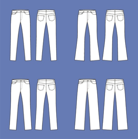 Vector illustration  Set of women s jeans  Front and back views  Different silhouettes Ilustrace