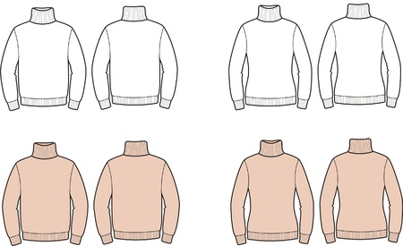 Vector illustration of men s and women s sweaters  Front and back views Vector