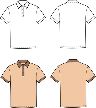 Vector illustration of men s polo t-shirt  Front and back views Vector