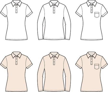 Vector illustration of women s polo t-shirts Vettoriali