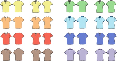 Vector illustration of men s and women s polo t-shirts  Front and back views  Different colors Stock Vector - 20146506