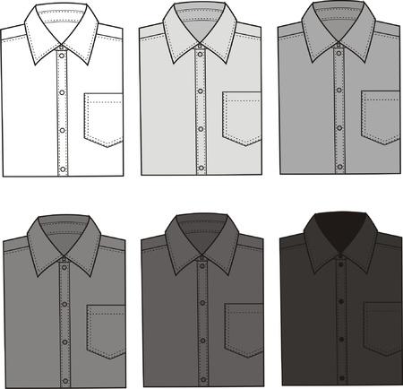 neck wear: Vector illustration of men s shirts  Different colors