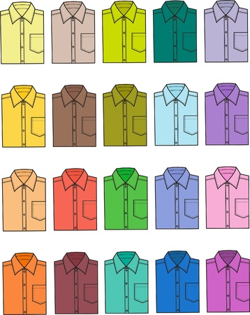 Vector illustration of men s shirts  Different colors Stock Vector - 20146351