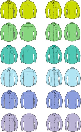 Vector illustration of men s and women s shirts  Front and back views  Different colors Stock Vector - 20146500