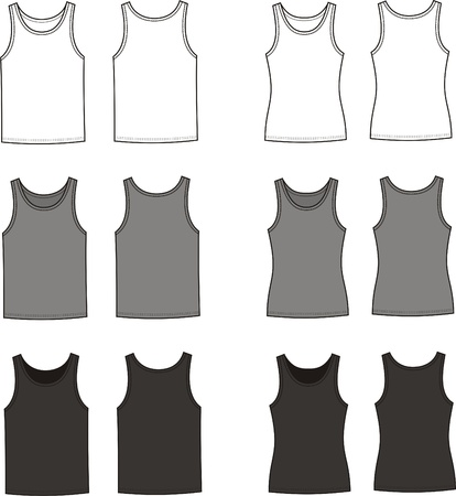Vector illustration of men s and women s singlets  Front and back views  Different colors Stock Vector - 20146363