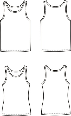 Vector illustration of men s and women s singlets  Front and back views Stock Vector - 20134987