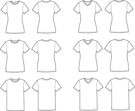 Vector illustration of men s and women s t-shirts  Front and back views  Different silhouettes and necklines Stock Vector - 20146448