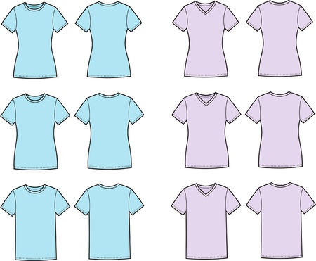 Vector illustration of men s and women s t-shirts  Front and back views  Different silhouettes and necklines Stock Vector - 20146242