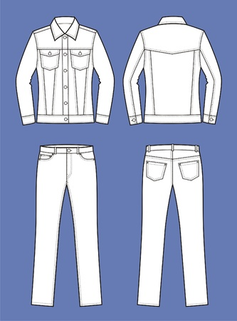pocket size: Vector illustration of women s jeans clothes  jacket and pants  Front and back views Illustration