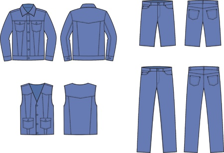 men s: Vector illustration of men s jeans clothes  jacket, pants, shorts, vest  Front and back views