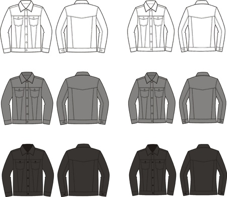 pocket size: Vector illustration of men s jeans jacket  Front and back views  Different colors