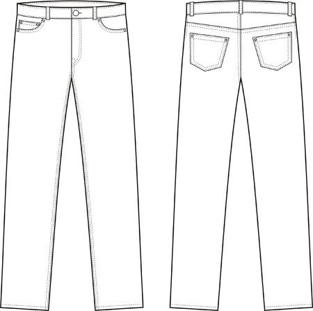 Vector illustratie van jeans Voor-en achterzijde uitzicht