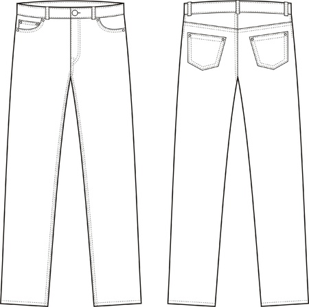 Vector illustration of jeans  Front and back views Ilustração