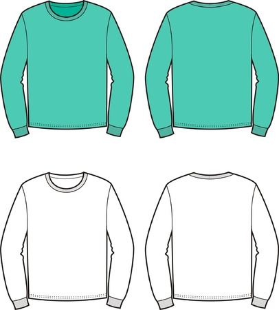 men s: Vector illustration of men s jumper  Front and back views