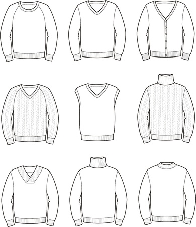 Vector illustration of men s jumpers Ilustração