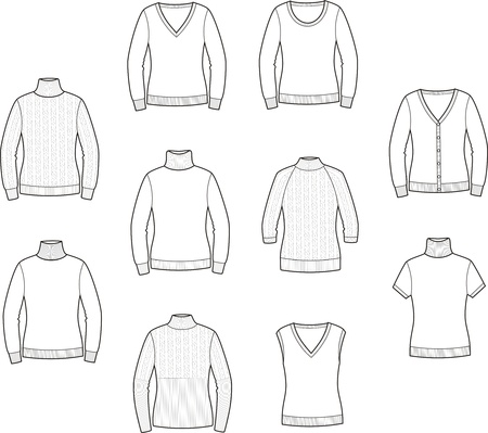 Vector illustration of women s jumpers