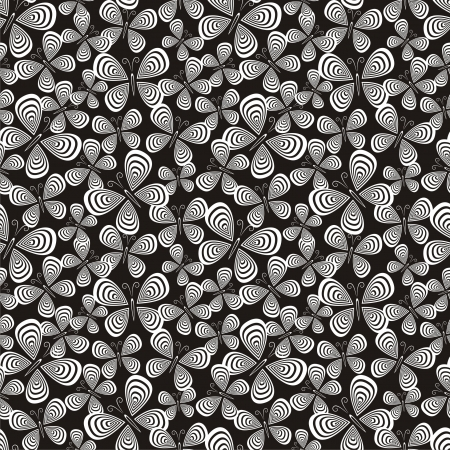 multilayer: Vector illustration of seamless pattern with butterflies